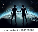 Silhouettes of businessmen shaking hands in front of world map with network or international trade lines - stock vector