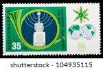 Small photo of BULGARIA - CIRCA 1979: A stamp printed by Bulgaria shows image Globe, Teleprinter and Old Radio transmitter, circa 1979
