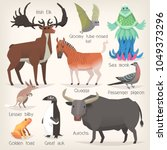 collection of extinct animals... | Shutterstock .eps vector #1049373296