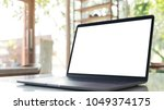 mockup image of laptop with... | Shutterstock . vector #1049374175