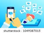 upset crying girl sitting on... | Shutterstock .eps vector #1049387015