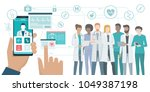 user video calling a doctor... | Shutterstock .eps vector #1049387198