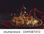 traditional arabic dessert... | Shutterstock . vector #1049387372