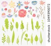 fantastic leaves and flowers.... | Shutterstock .eps vector #1049390072