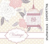 vintage floral romantic hand... | Shutterstock .eps vector #1049397746