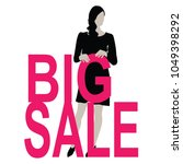 beautiful black women hold sale ... | Shutterstock .eps vector #1049398292