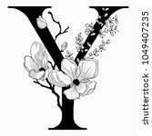 vector hand drawn floral y... | Shutterstock .eps vector #1049407235
