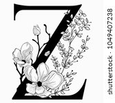 vector hand drawn floral z... | Shutterstock .eps vector #1049407238
