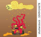 an angry monster with tentacles ... | Shutterstock .eps vector #1049414678