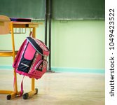 pink girly school bag and... | Shutterstock . vector #1049423522