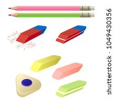 Stock vector set of erasers of different color and shape two pencils 1049430356