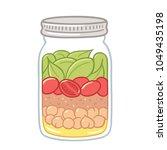 salad in mason jar  healthy... | Shutterstock .eps vector #1049435198