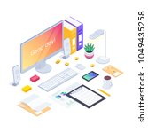 workspace. isometric concept of ... | Shutterstock .eps vector #1049435258