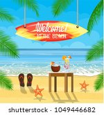 beach things and surfboard... | Shutterstock .eps vector #1049446682