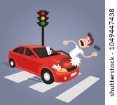 driver hit careless man... | Shutterstock .eps vector #1049447438