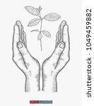 hand drawn hand gesture. safe... | Shutterstock .eps vector #1049459882