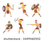 gladiators holding swords.... | Shutterstock .eps vector #1049460542