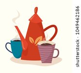 teapot with cups. flat cartoon... | Shutterstock .eps vector #1049462186