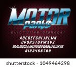 cool automotive typeface with... | Shutterstock .eps vector #1049464298