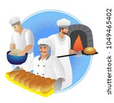 men bakers and bread. bread... | Shutterstock .eps vector #1049465402