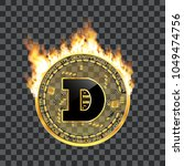crypto currency golden coin... | Shutterstock .eps vector #1049474756