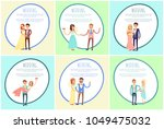 happy newlywed couples composed ... | Shutterstock .eps vector #1049475032