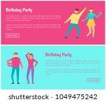 birthday party web online...   Shutterstock .eps vector #1049475242