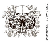 skull contour sketch for tattoo ... | Shutterstock .eps vector #1049484212