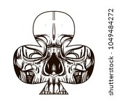 skull contour sketch for tattoo ... | Shutterstock .eps vector #1049484272