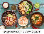 rice with prawns  chicken ... | Shutterstock . vector #1049492375