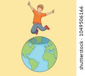 kid jumping on top of the world ... | Shutterstock .eps vector #1049506166