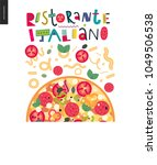 italian restaurant set   pizza... | Shutterstock .eps vector #1049506538