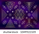 sacred geometry style gold... | Shutterstock .eps vector #1049522105