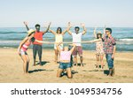 multiracial happy friends group ... | Shutterstock . vector #1049534756