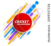 illustration of cricket ball in ... | Shutterstock .eps vector #1049537156