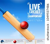 illustration of cricket bat and ... | Shutterstock .eps vector #1049537486