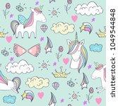 magic cute unicorns. vector... | Shutterstock .eps vector #1049544848