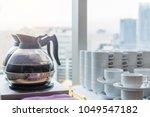 coffee or tea in kettle boiler... | Shutterstock . vector #1049547182