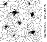spiders on  webs seamless... | Shutterstock .eps vector #104955575