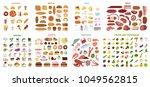 all food set. meat and... | Shutterstock .eps vector #1049562815