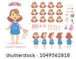 girl character set with poses... | Shutterstock .eps vector #1049562818