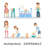 baby with parents set. feeding... | Shutterstock .eps vector #1049564612