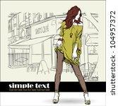 sexy summer girl in sketch...   Shutterstock .eps vector #104957372