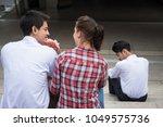 love triangle. handsome man... | Shutterstock . vector #1049575736