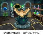 the witch room with owl. vector ... | Shutterstock .eps vector #1049576942