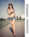 pretty fashion girl in lingerie ... | Shutterstock . vector #104958182
