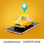 smartphone application of taxi... | Shutterstock . vector #1049591456