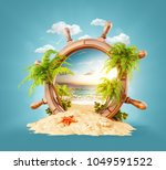 wonderful tropical landscape... | Shutterstock . vector #1049591522