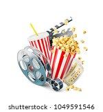 popcorn  cinema reel ... | Shutterstock . vector #1049591546