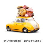 cute fantastic retro car with... | Shutterstock . vector #1049591558